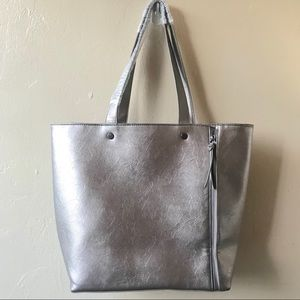 Neiman Marcus Silver Metallic Side Zipper Tote